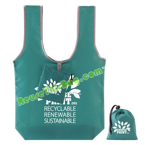 Polyester ripstop fold n go t shirt handle bag for Reusable t shirt bags